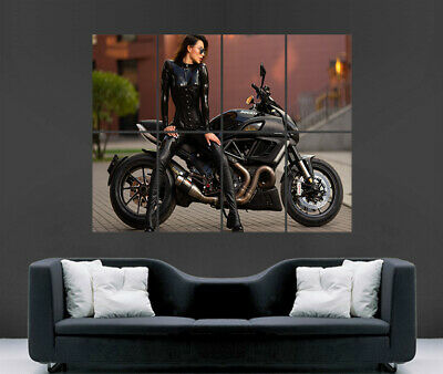 Super Hot Sexy Girl Motorbike Poster Cat Suit Pvc Superbike Art Large Giant