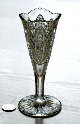 EAPG antique glass SCALLOPED SIX POINT trumpet VASE Duncan's Sons & Co. #30 1897