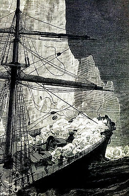 Newfoundland STEAMSHIP COLUMBIA Hits ICEBERG in ATLANTIC 1887 Art Print Matted