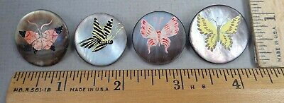 Lot of 4 HAND-PAINTED BUTTONS, 1950s EDITH & ALAN BROOKS? All Butterfly Designs