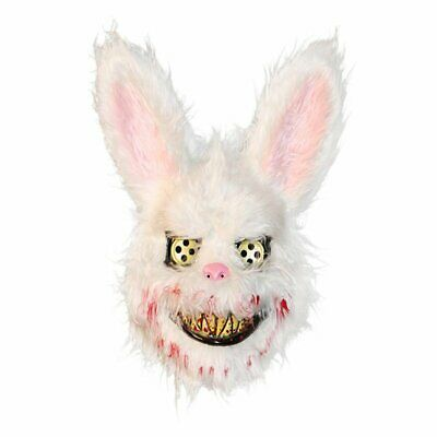 White Bunny Rabbit Bloody Creepy Scary Mask Halloween Horror Killer Fancy Dress