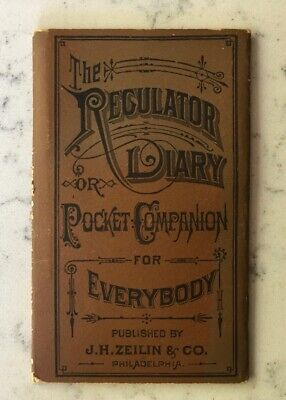 Antique Quack Medicine Advertising Jh Zeilin The Regulator Diary Pocket Book