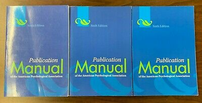 Lot of 3 Publication Manual The American Psychological Association 6th Edition