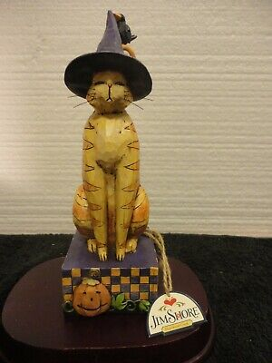 """Jim Shore """"Kitty in a Witch Hat"""" Halloween Cat and Crow. C4006135"""