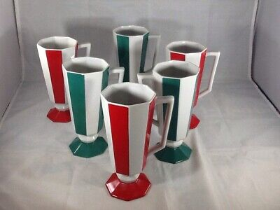SET OF 6 Seyei  Coffee Mug Cups Footed VTG Japan RED,WHITE,GREEN