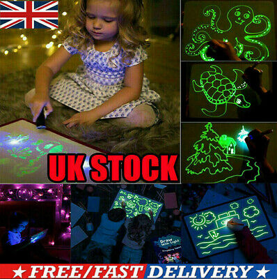 LOT Draw W/Light Drawing Board Fun Developing Toy Kid Educational Magic Paint UK