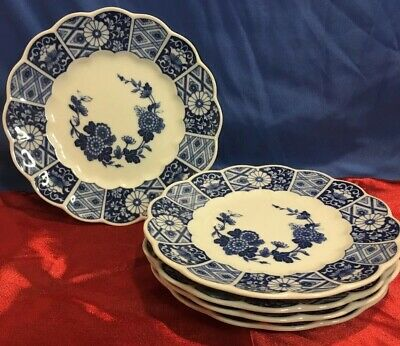 """Vintage BLUE IMARI Lipper and Mann Side Plate 7"""" Lot of 5 Bread Plates"""
