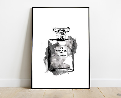 CHANEL PERFUME BOTTLE PRINT GREY ART DRESSING ROOM PRINTS A4 - Home Gifts