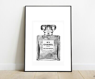 CHANEL BOTTLE PRINT GREY CHARCOAL ART DRESSING ROOM PRINTS A4 - Home Gifts
