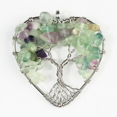 Natural Fluorite Gems Chips Bead Heart Tree of Life Silver Pendant for Necklace