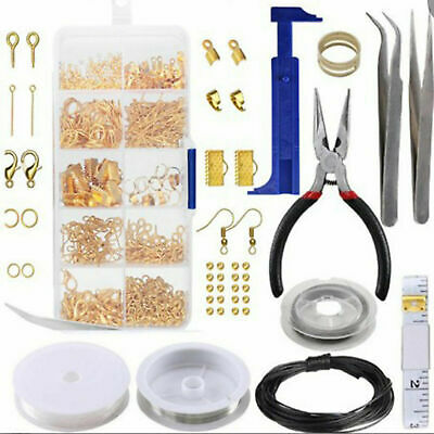 Large Jewellery Making Kit Set Pliers Silver Beads Wire Starter Tools Home DIY
