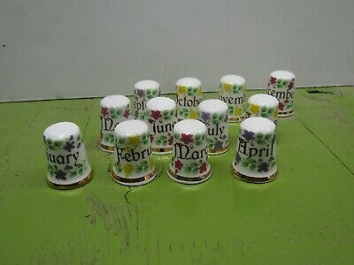 Porcelain collector thimbles Finsbury of England 12 month Full year set   lot 02