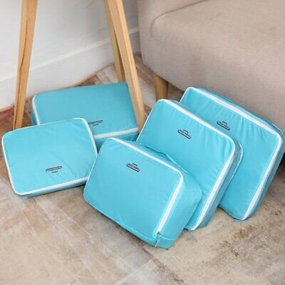 5Pcs Travel Luggage Organiser Cube Clothes Storage Pouch Suitcase Packing Bags