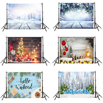 Christmas Theme Photography Backdrop Wood Wall Snowflake Sock Glitter Background