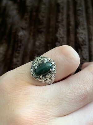 Beautiful Antique Sterling Silver Bloodstone Ring