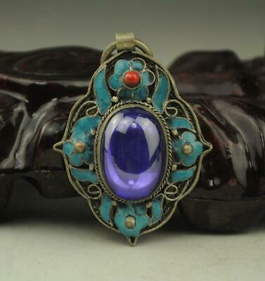 China handwork silver inlay old purple zircon Cloisonne blue Flower Pendant b01