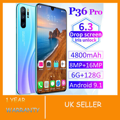 "New 6.3"" P36 Pro Android 9.1 Smart Mobile Phone 6+128GB Face ID Unlocked 4800mAh"