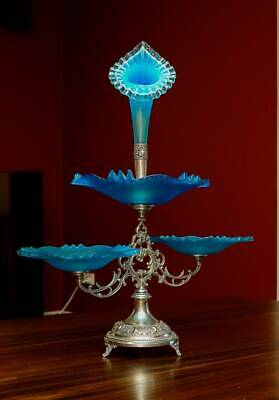 Silverplated Blue Glass Epergne Centrepiece