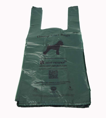 Biodegradable Strong Large Green Unscented Ties Handles Pet Dog Poop Waste Bags