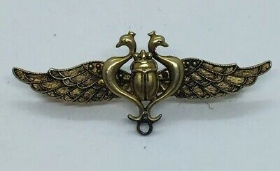 Antique Victorian 14k Yellow Gold Egyptian Revival Scarab Wings Pin