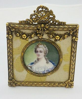 Antique Victorian Hand Painted Signed Miniature Portrait Brass Frame