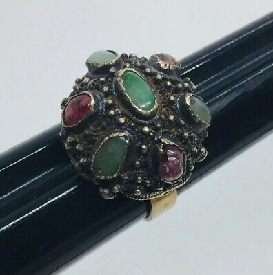 Vintage Chinese Sterling Silver Green Jade & Tourmaline Filigree Adjustable Ring