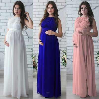 Pregnant Photo Props Dress Solid O-Neck Sleeveless With Belt Party Maxi Dress
