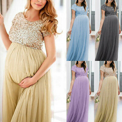 New Pregnant Photo Props Short Sleeve O-Neck Sequins Stitching Party Long Dress