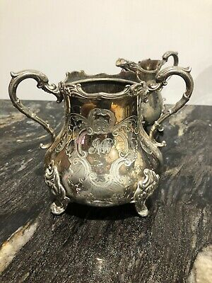 STUNNING VICTORIAN Large 2 PIECE SILVER PLATED Milk Sugar  Lovely & Solid 1kg