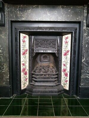 Antique cast iron fireplace with tiles, with optional Gazco gas fire