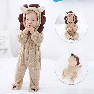 New Infant Baby Cartoon Hooded Plush Long Sleeve Zipper Romper Jumpsuit Outfits