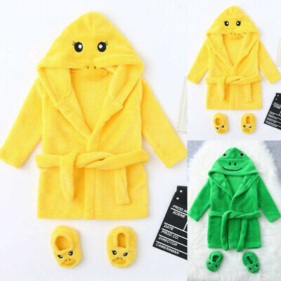 Baby Cute Cartoon Flannel Bathrobes Hooded Long Sleeve Sleepwear+Shoes Outfits