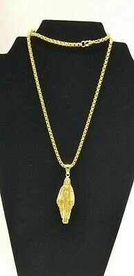 Polished Men's Gold Stainless Steel Chain Necklace Mother Mary Bling