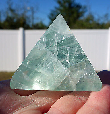 Sparkly Fluorite Crystal Pyramid Point with Rainbows Beautiful Polished Stone