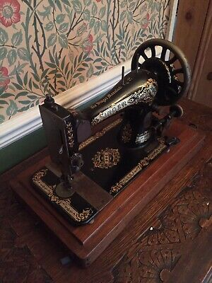 Antique Singer Sewing Machine With Hood