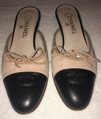 Chanel Pink Suede / Black Leather Spectator CC Logo Mules 38/8