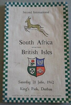BRITISH & IRISH LIONS 1962 2nd TEST v SOUTH AFRICA  RUGBY PROGRAMME 21st July