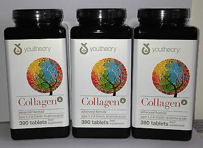 3 X YOUTHEORY ADVANCED  COLLAGEN 390 Tablets Per Bottle