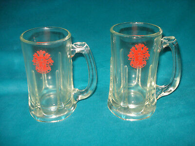 """2 Vntg Beck's German Beer Drinking Mug Extra Large Heavy Glass Steins 5.5"""" Tall"""