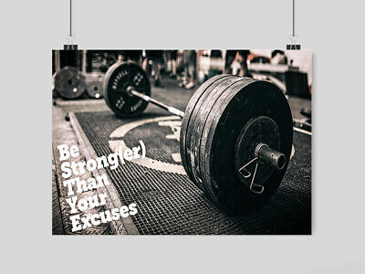Weightlifting Motivation Poster Print Wall Art Gym Fitness Weights Size A3 A4