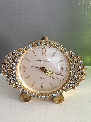 VINTAGE  PHINNEY WALKER Blue RHINESTONE Jeweled Gems Gemstone Alarm Clock Beauty
