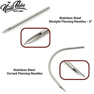 100 pcs Stainless Steel Straight & Curved Piercing Needles