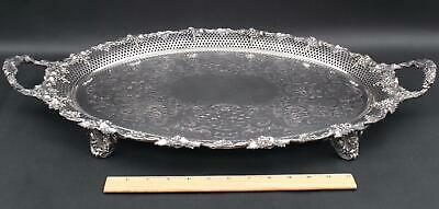 Lrg Antique Ellis Barker English Silver Plate on Copper Pierced Grapes Oval Tray