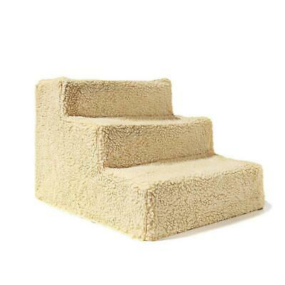 Pet Stairs 3 Step Climb Dog Ladder wIth Cover Cat Ramp Stair Steps White/Be S8X7