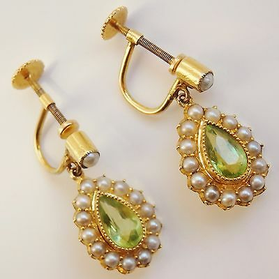 Stunning Antique Victorian 15ct Gold Peridot & Pearl Drop Earrings c1890 in Case