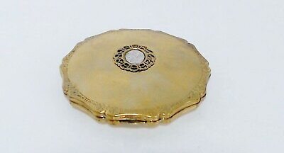 Stratton Queen Convertible Powder Compact Lucite Flower Plaque Gold Star Base