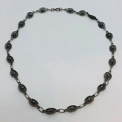 Antique Victorian Sterling Silver Filigree Chain Necklace