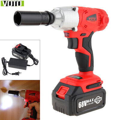 68V 7800mAh Electric Cordless Impact Wrench Brushless Gun Driver Tool 2 Battery