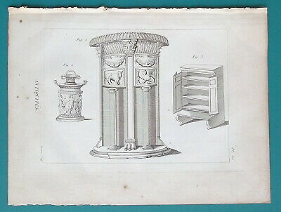 FURNITURE Greek Roman Armoire Marble Stands - 1804 Antique Print Engraving