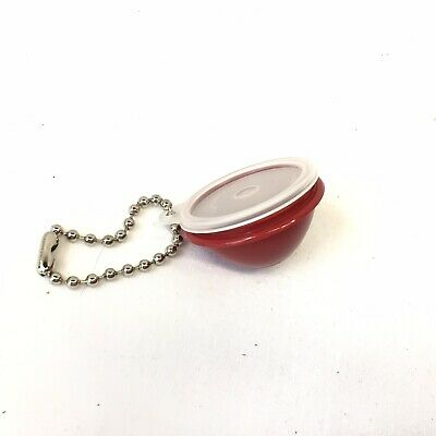 New Vintage Tupperware Mini Wonderlier Bowl Keychain Harvest Burgandy red 1980s